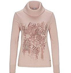 Rollkragenpullover Damen rosa Muster